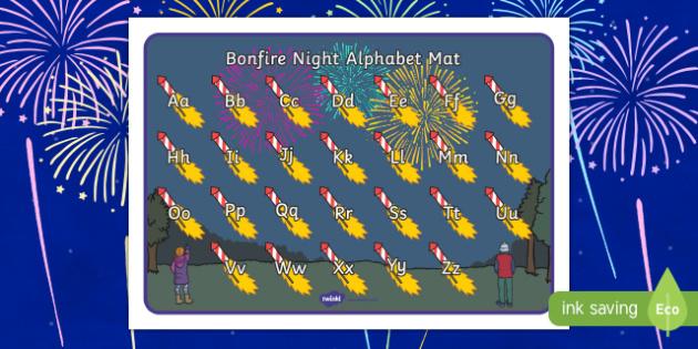 Bonfire Night Themed Alphabet Mat