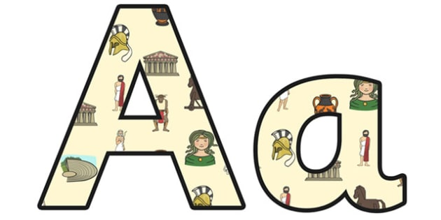 Ancient Greece Lowercase Display Lettering - ancient greece, greece, ancient greeks, ancient greece display lettering, ancience greece display, ks2 history