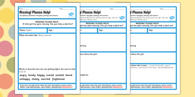 Missing Worksheet to Support Teaching on The BFG - bfg, missing, worksheet, help, describe