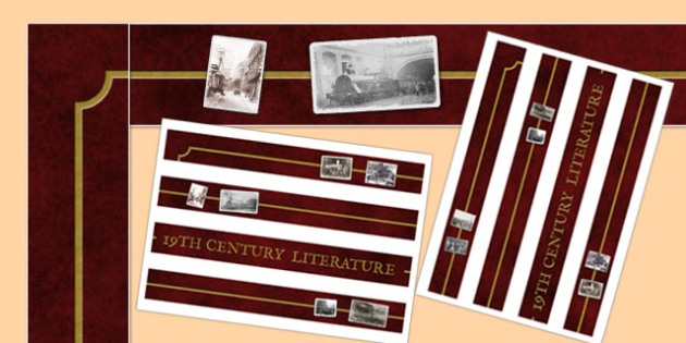 19th Century Literature Display Borders - 19th century, literature, display, borders