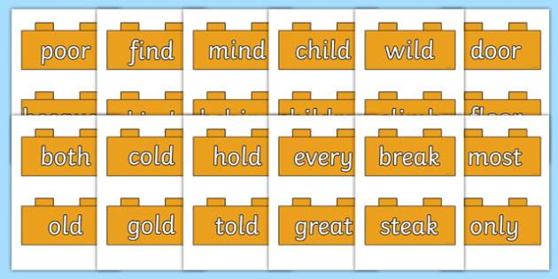 Year 2 Common Exception Words on Bricks -  spelling, ks1, literacy, english progress, marking, test, testing, phonics