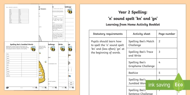 Year 2 Spelling: Short /n/ sound spelt 'gn' and 'kn' Activity Booklet - Year 2, spellings, /n/ spelt gn or kn, /n/ spelled gn or kn, digraph, gn, kn, spellings, Y2, KS1, SP