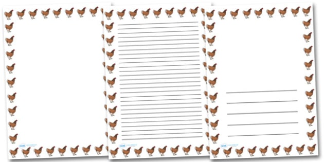 Hen Chicken Portrait Page Borders- Portrait Page Borders - Page border, border, writing template, writing aid, writing frame, a4 border, template, templates, landscape