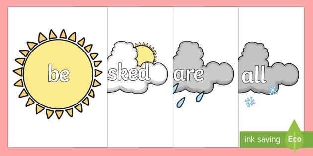 Tricky Words on Weather Symbols - Tricky words, DfES Letters and Sounds, Letters and sounds, weather, weather display, fog, seasons, sun, cloud, rain, snow, hail, display