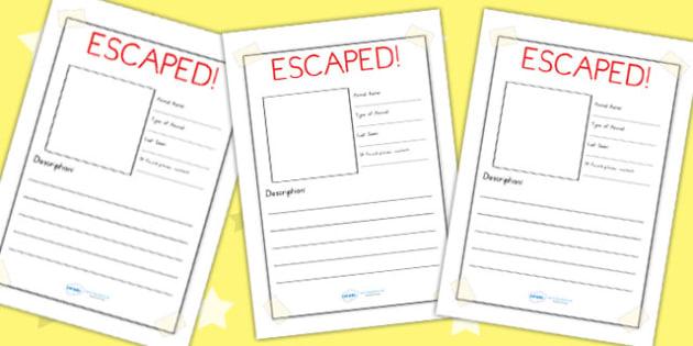 Escaped Animal Writing Frame Plain - animals, zoo, writing, write