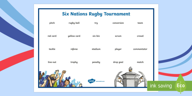 Six Nations Rugby Tournament Word Mat-Scottish - CfE, calendar events, Scotland, Scottish, traditions, history, celebrations, six nations, 6 nations,