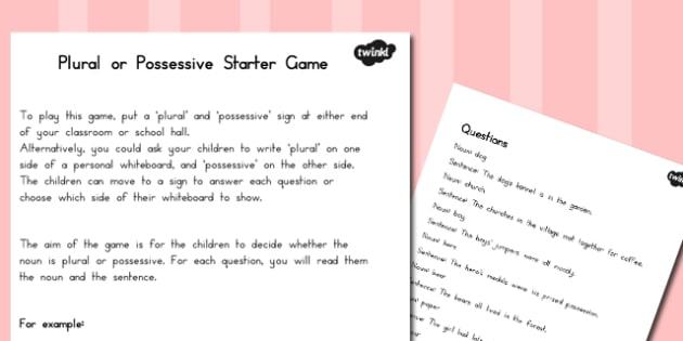 Plural Or Possessive Starter Game - literacy, writing, english