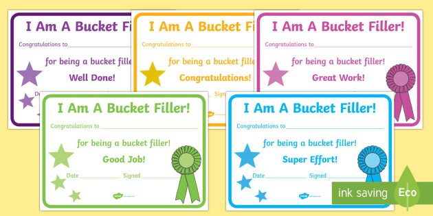 Have You Filled a Bucket Today Filler Certificates - have you filled a bucket today, filling buckets, Carol McCloud, basket filler, certificate, award, reward, achievement, happyness, children
