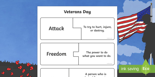 Veterans Day Vocabulary Puzzle Cards