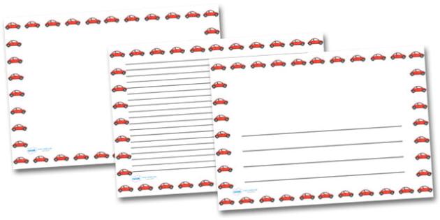 Red Car Landscape Page Borders- Landscape Page Borders - Page border, border, writing template, writing aid, writing frame, a4 border, template, templates, landscape