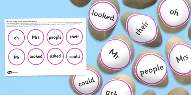 Tricky Words Stone Cut Outs Phase 5 - letters and sounds, phonics, early years, ks1, role play, independent activity, kinaesthetic learning