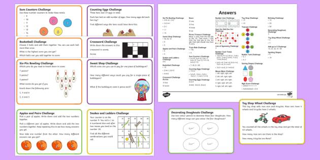 KS1 Mixed Maths Challenge Cards - challenge cards, ks1, maths