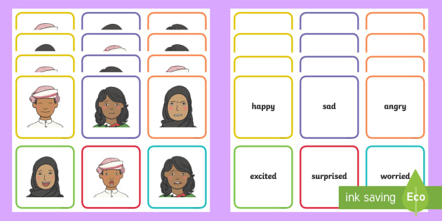 UAE - Topics - Feelings Matching Cards - Feelings, emotions, UAE, matching cards, match