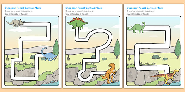 Dinosaur Pencil Control Path Sheets - dinosaur, pencil control, pencil control worksheets, fine motor skills, fine motor worksheets, worksheets
