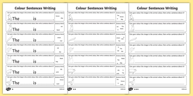 Colour Sentences Writing Activity Sheet Pack, worksheet