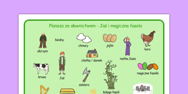 Plansza ze słownictwem Jaś i magiczna fasola po polsku