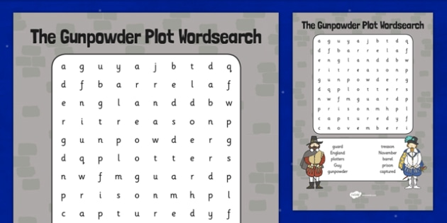 The Gunpowder Plot Word Search - Bonfire, Night, Word, Search
