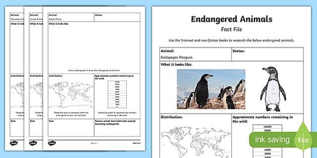 Endangered Animal Fact File Research Activity Sheet, worksheet