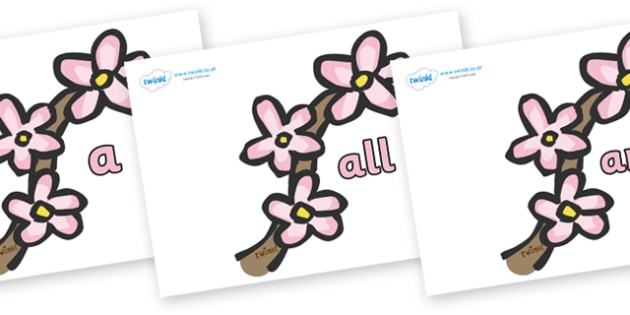 Foundation Stage 2 Keywords on Spring Blossom - FS2, CLL, keywords, Communication language and literacy,  Display, Key words, high frequency words, foundation stage literacy, DfES Letters and Sounds, Letters and Sounds, spelling