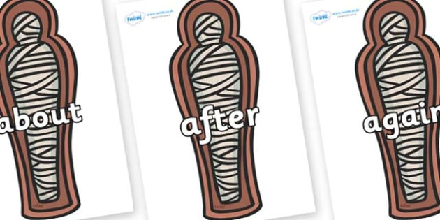 KS1 Keywords on Mummies (Coffin) - KS1, CLL, Communication language and literacy, Display, Key words, high frequency words, foundation stage literacy, DfES Letters and Sounds, Letters and Sounds, spelling