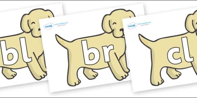Initial Letter Blends on Puppies - Initial Letters, initial letter, letter blend, letter blends, consonant, consonants, digraph, trigraph, literacy, alphabet, letters, foundation stage literacy