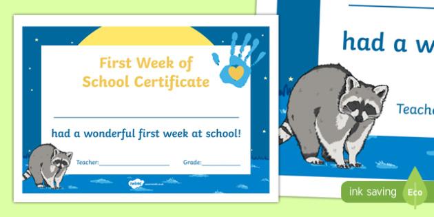First Week of School Certificate