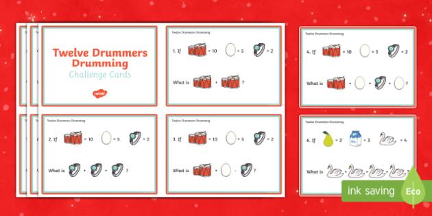 Twelve Drummers Drumming Challenge Cards