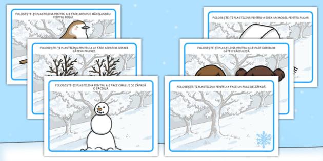Iarna, planse pentru modelat - iarna, arte stiinte integrat