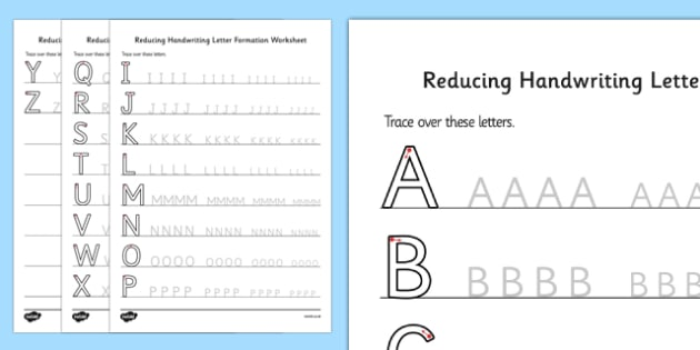 Reducing Handwriting Letter Formation Worksheets - handwriting, letter, formation, worksheets