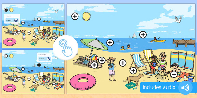 Seaside Themed Oral Blending and Segmenting Phonics Picture Hotspots - Twinkl Go, twinkl go, TwinklGo, twinklgo, blend, segment, summer, beach, sea, reading, phonics, KS1, EYFS, Early Years, Literacy, English