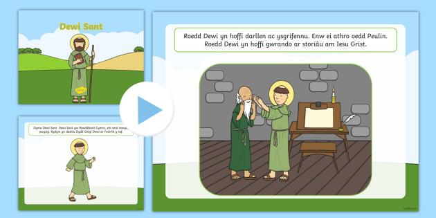 Pwerbwynt Stori Dewi Sant - Stori Dewi Sant, pwerbwynt, CA1, iaith, Cymraeg, gwybodaeth a dealltwriaeth o'r byd.,Welsh