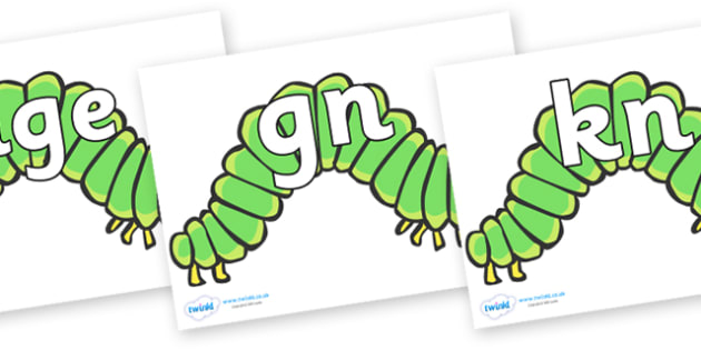 Silent Letters on Hungry Caterpillars - Silent Letters, silent letter, letter blend, consonant, consonants, digraph, trigraph, A-Z letters, literacy, alphabet, letters, alternative sounds