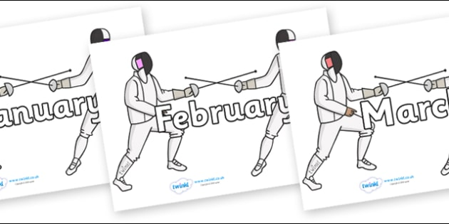 Months of the Year on Fencing - Months of the Year, Months poster, Months display, display, poster, frieze, Months, month, January, February, March, April, May, June, July, August, September