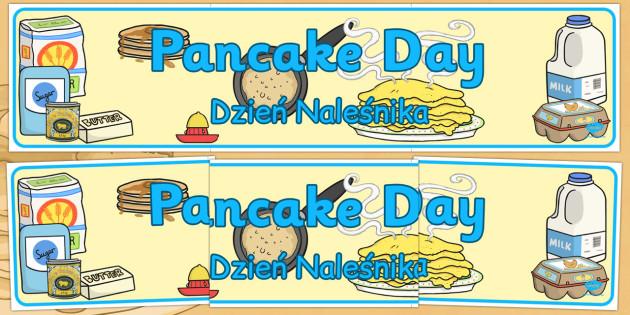 Pancake Day Display Banner Polish Translation - Polish, pancake day, display, banner, day