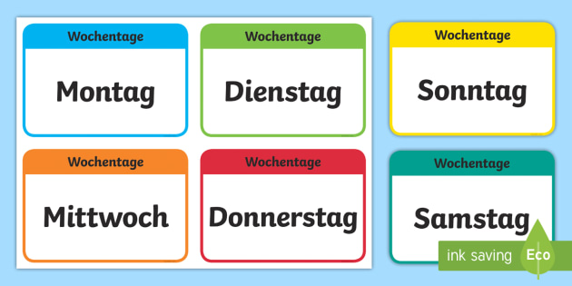 Die Tage der Woche Flashcards German - german, days of the week, flashcards, flash cards, days, week
