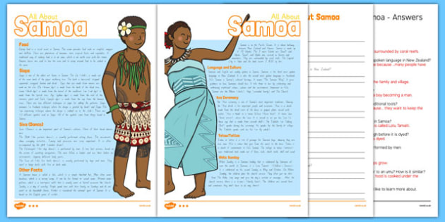 Samoa Differentiated Comprehension Activity Sheets - pacific islands, samoa, comprehension, countries, worksheet