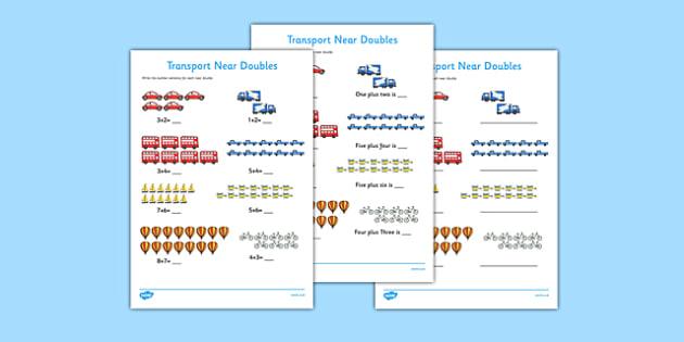 Near Doubles to 20 Transport Activity Sheet - near doubles, 20, transport, activity, sheet, worksheet
