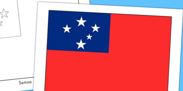 Samoa Flag Display Poster - countries, country, geography, samoa
