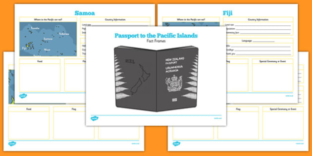 Passport to the Pacific Islands Fact Frames - pacific islands, facts, countries, New Zealand