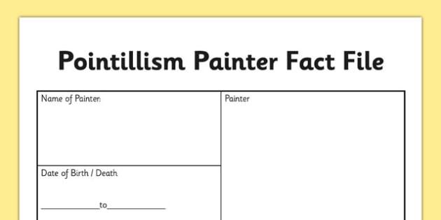 Pointillism Painter Fact File - pointillism, painter, fact file, pointillism painter