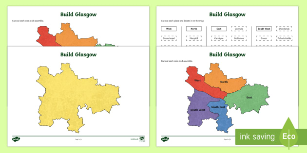 Build Glasgow Map Jigsaw Puzzle-Scottish - Map, Glasgow, Scotland, Scottish, CfE, geography, boundaries,Scottish