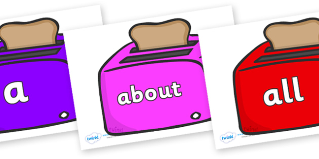 100 High Frequency Words on Toasters - High frequency words, hfw, DfES Letters and Sounds, Letters and Sounds, display words