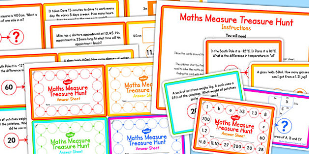 Maths Measure Treasure Hunt Challenge Cards - challenge, cards