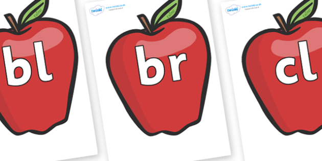 Initial Letter Blends on Red Apples - Initial Letters, initial letter, letter blend, letter blends, consonant, consonants, digraph, trigraph, literacy, alphabet, letters, foundation stage literacy