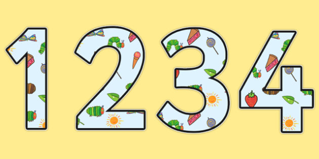 Display Numbers to Support Teaching on The Very Hungry Caterpillar - the very hungry caterpillar, display numbers, display, numbers, numbers for display, themed numbers