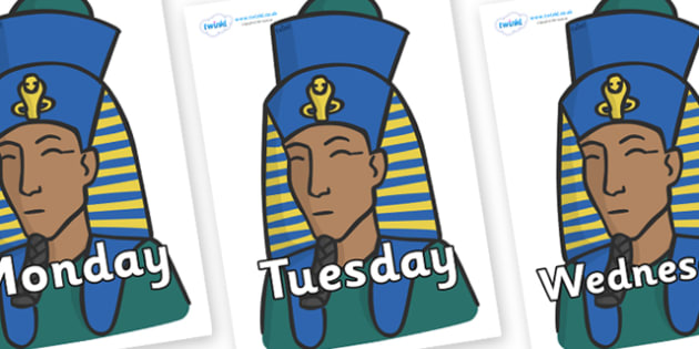 Days of the Week on Pharaohs - Days of the Week, Weeks poster, week, display, poster, frieze, Days, Day, Monday, Tuesday, Wednesday, Thursday, Friday, Saturday, Sunday