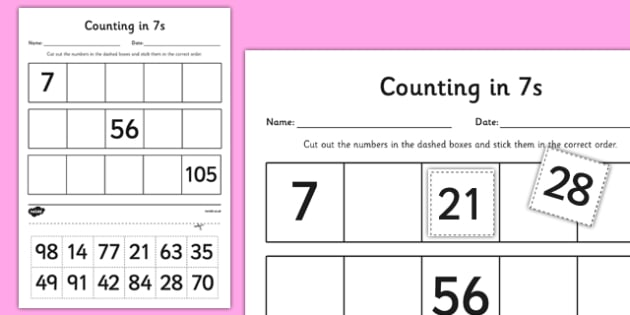 Counting in 7s Cut and Stick Activity Sheet - counting, count, cut and stick, activity, 7s, worksheet