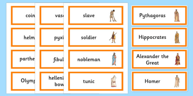Ancient Greece Word Cards - ancient greece, greek, word card