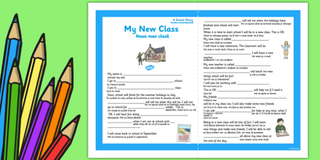My New Class Social Situation Primary Romanian Translation - new class, social, story, sen, eal, transistion, primary, ks1, ks2