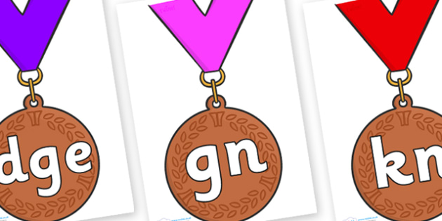 Silent Letters on Bronze Medal - Silent Letters, silent letter, letter blend, consonant, consonants, digraph, trigraph, A-Z letters, literacy, alphabet, letters, alternative sounds
